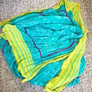 Levi's Teal & Yellow Cotton Scarf 80x40